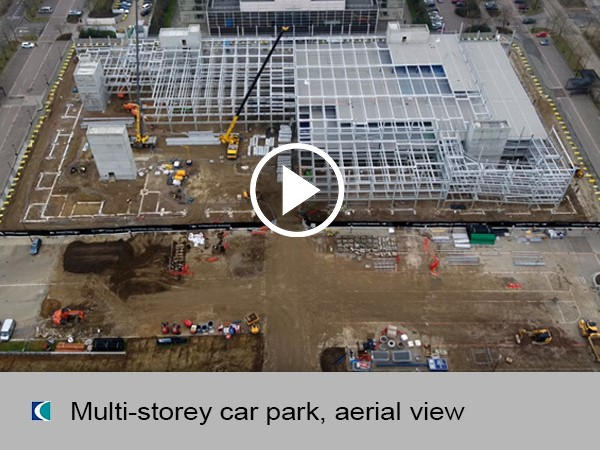 Multi-storey car park, aerial view